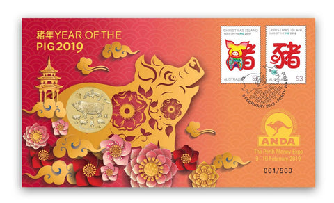 2019 Year of the Pig $1 PNC Perth ANDA Overprint