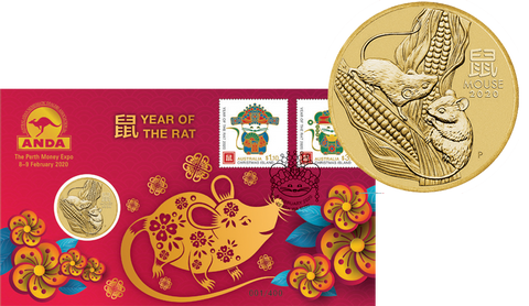 2020 Year of the Rat $1 PNC - Perth Money Expo ANDA Overprint