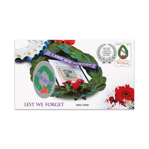 2021 Lest We Forget Stamp and Medallion Cover