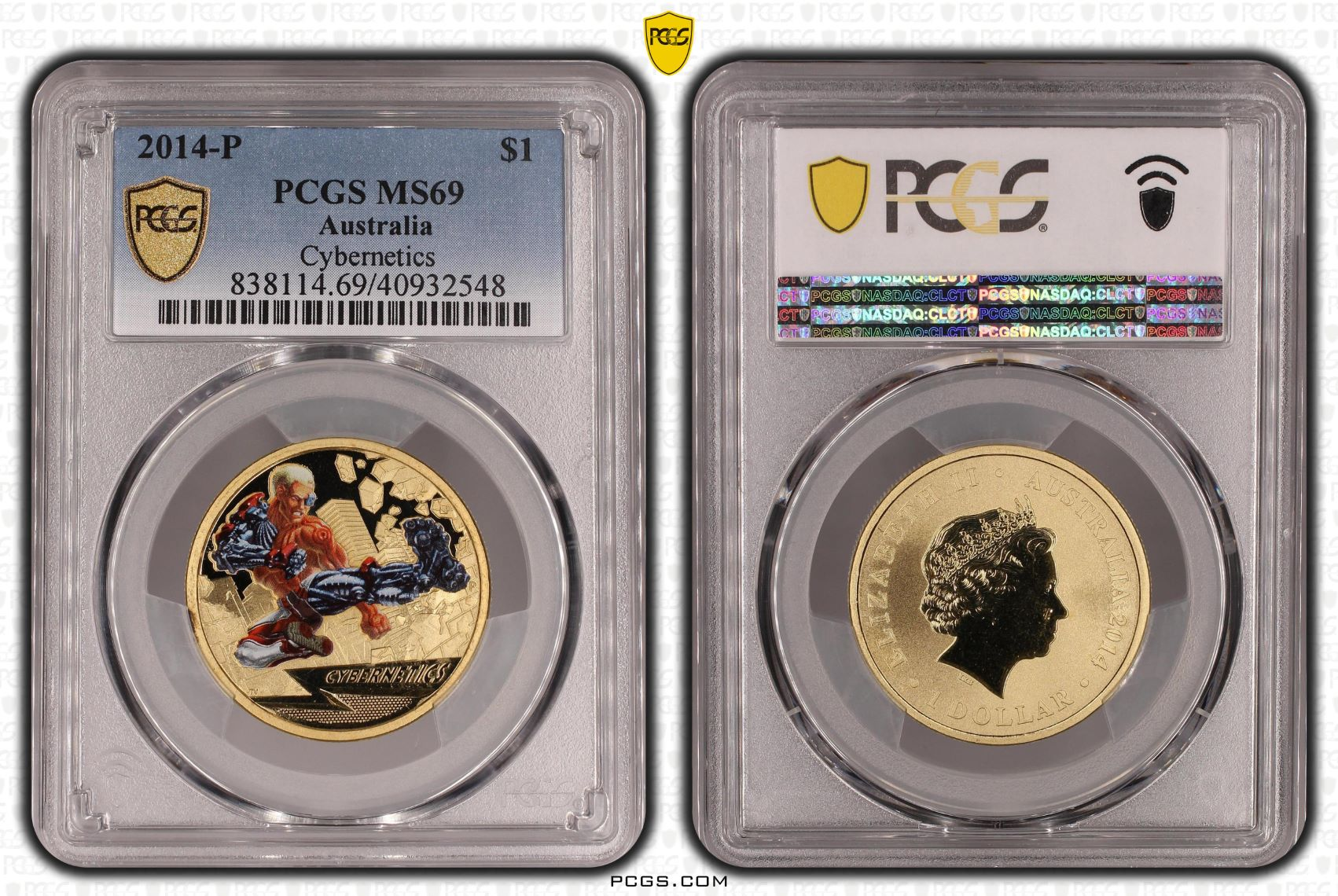 2014 Super Heroes 'Cybernetics' $1 Coin MS69 (Top Pop)