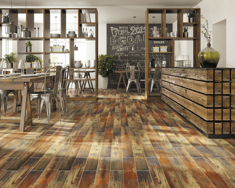 Metallic Pine Wood Effect Glazed Wall and Floor Tile