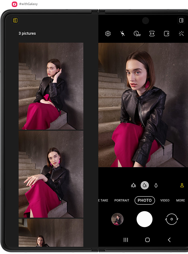 A woman sitting on stairs. Another pose appears, and then another. The photos are floating over unfolded Galaxy Z Fold3 5G. They fall into place the screen inside Capture View Mode in the Camera app. The counter says 2 photos. The shutter snaps and another photo is taken on Galaxy Z Fold3 5G, and the photos shift again to show the bigger view of photos just taken. The counter now says 3 photos.