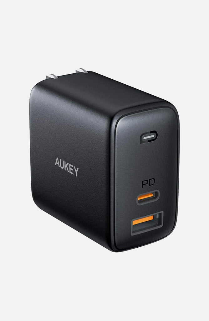 Aukey USB C Charger AUKEY Omnia 65W Fast Charger (Dual Port USB-C PD 3.0 Plus USB A) with GaNFast Tech & Dynamic Detect PD Charger