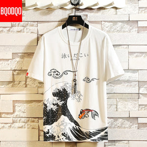 Funny Anime Print Oversized Men T Shirt Hip-Hop Cotton
