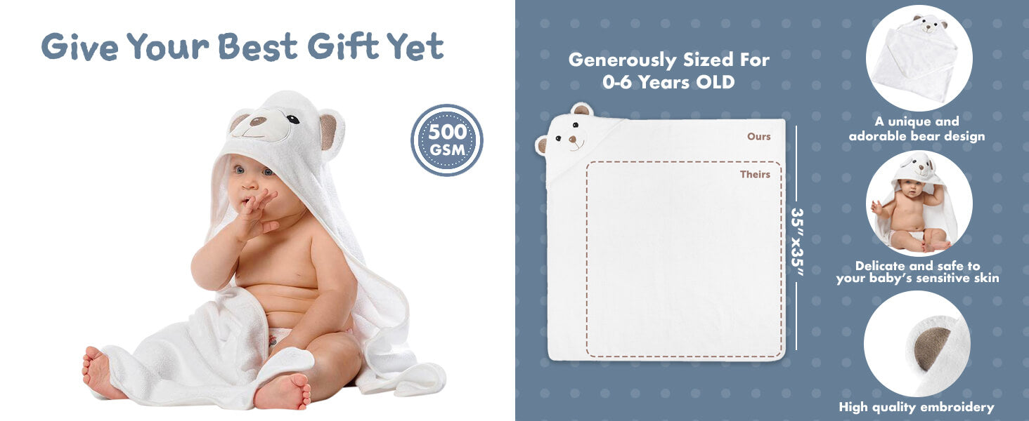 Dotmom organic bamboo baby hooded towel gift set for new born baby shower