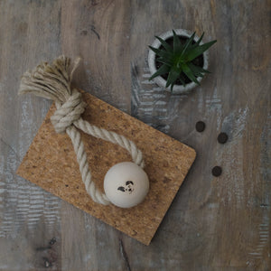 Smug Mutts Top Knot Toy, Hemp and Beech wood. Natural.