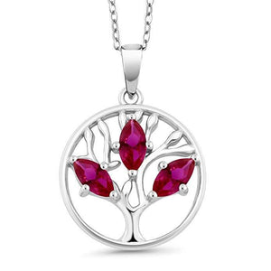 Motherly 2.00 CT Ruby Pear Cut Tree Of Life