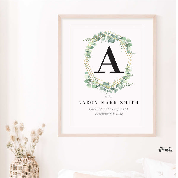 New Baby Print - Eucalyptus Frame - Customisable