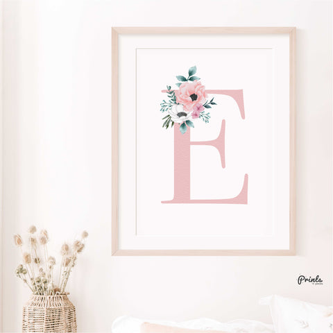 Baby Print - Flower Initial (Letter Only)- Personalised