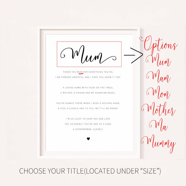 Mother's Day Poem Print