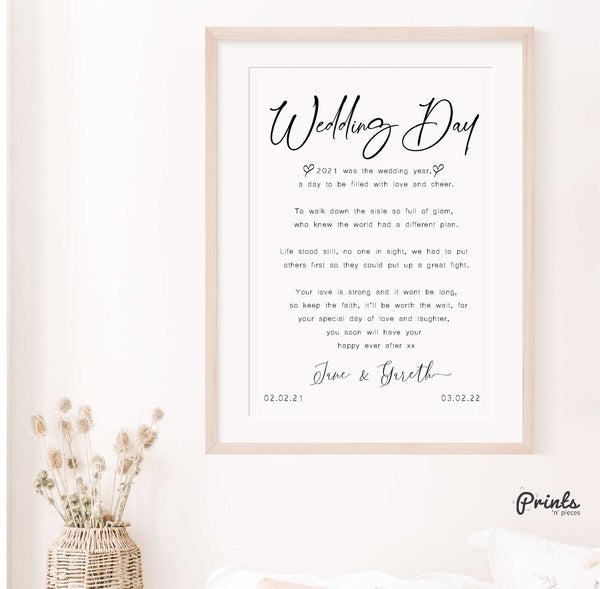Wedding Poem (Postponed) (Customisable)(Instructions Under Picture)