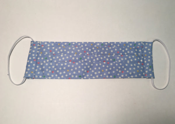Cotton Face Mask - Blue with Dots