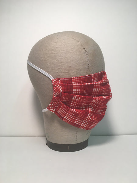 Cotton Face Mask - Red Plaid