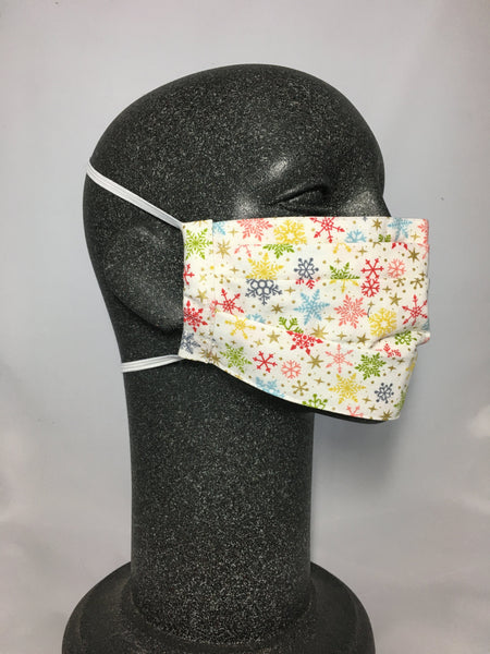 Cotton Face Mask - Colorful Snowflakes