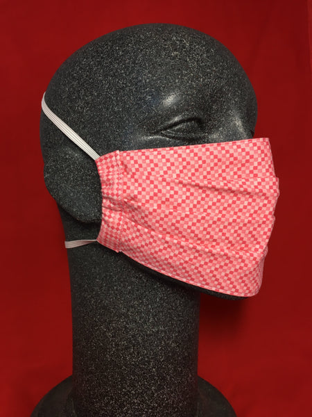 Cotton Face Mask - Pink Zig Zag Squares