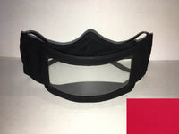 A black cotton face mask featuring a plastic window over the mouth to help the wearer communicate with people who rely on reading lips. A small red rectangle is in the bottom right corner.