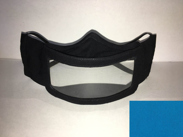 A black cotton face mask featuring a plastic window over the mouth to help the wearer communicate with people who rely on reading lips. A small turquoise rectangle is in the bottom right corner.