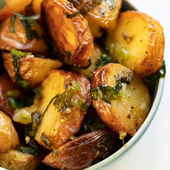 Sautéed Baby Potatoes and Wild Garlic