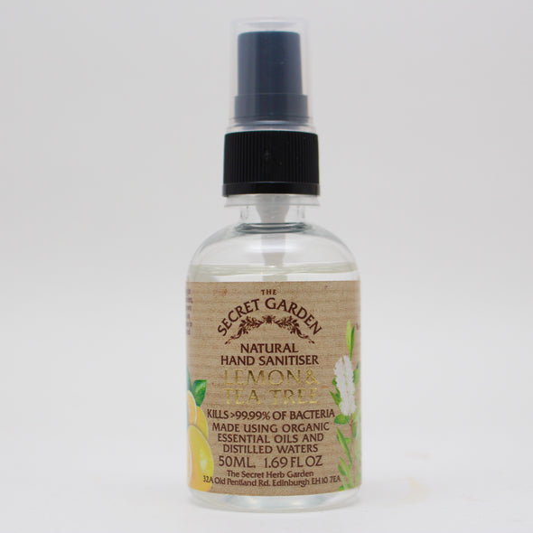 The Secret Garden Natural Hand Sanitiser, 80% alc - Lemon and Tea Tree