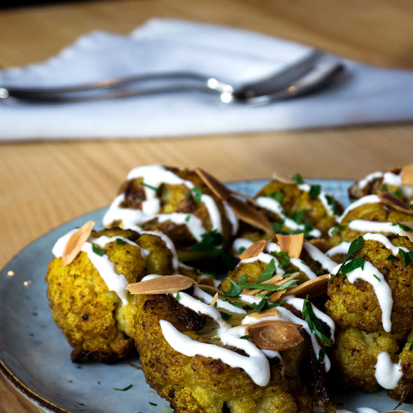 Curry Roasted Cauliflower with Yoghurt and Almonds