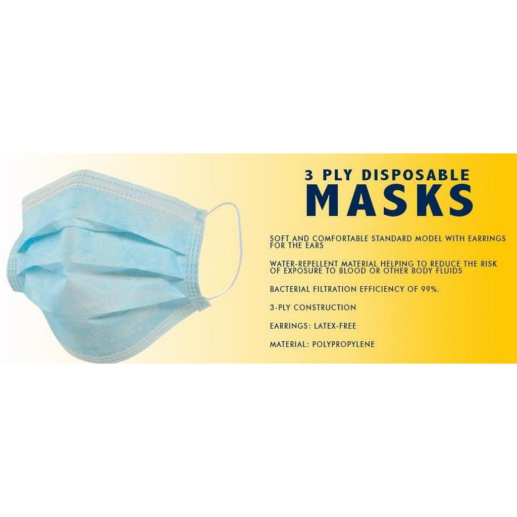 3-Ply Protective Face Mask - Box of 50
