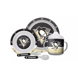 🏒 NHL Penguins Plastic Dinnerware Set (5-Piece)