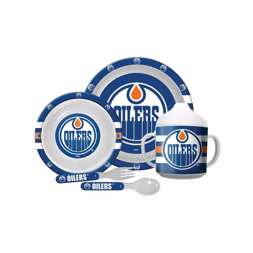 🏒 NHL Oilers Plastic Dinnerware Set (5-Piece)