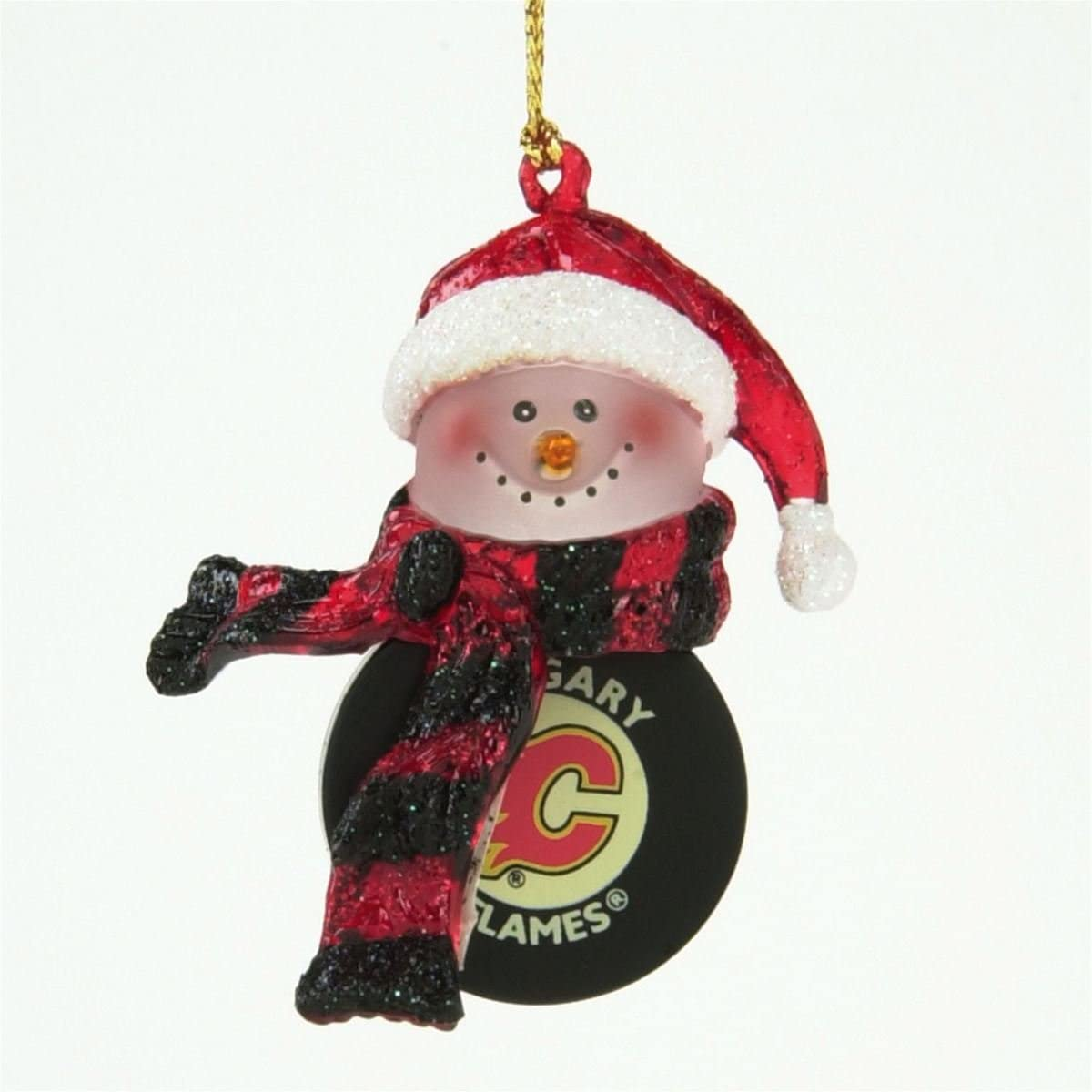 Calgary Flames Light-Up Snowman Ornaments - Set of 3
