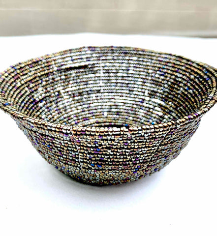 BALI MADE BEADED MULTI-COLORED GUNMETAL BASKET - WEAR JOY PROJECT