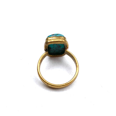 TURQUOISE AND AMAZING QUALITY BRASS RECTANGLE RING