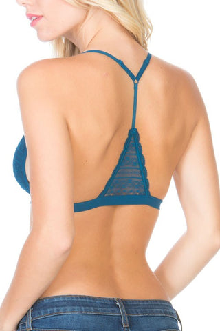 Delicate all lace triangle back bralette, mesh lining with removable padding for shape and no show. Front closure, adjustable straps, soft and stretchy band.