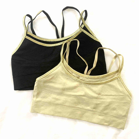 Doubled bra with four thin metallic straps, one razorback and one basic back straps BRALETTE. No padding. Very stretchy.