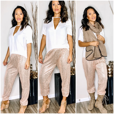 ROSE GOLD SEQUIN JOGGER PANTS - WEAR JOY PROJECT