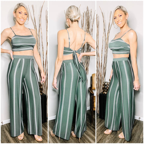 SAGE GREEN TIE-BACK SPAGHETTI STRAP CROP TOP - WEAR JY PROJECT