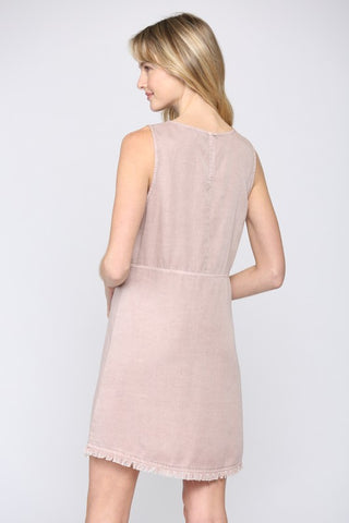 GORGEOUS BLUSH PINK SLEEVELESS TWILL DRESS WITH FRON POCKETS AND FRAYED HEM