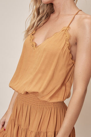 LIGHTWEIGHT SHORT SPAGHETTI STRAP LACE DETAIL DRESS. PERFECT FOR SUMMER. SMOCKED ELASTIC WAIST. SEXY BRAIDED RACERBACK.