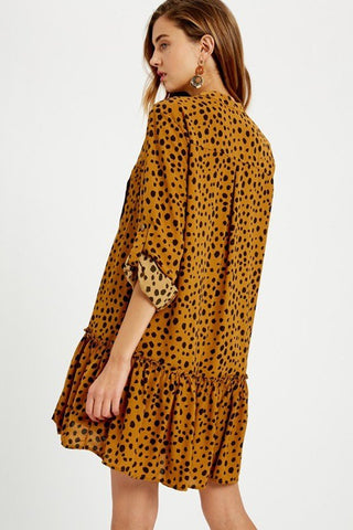 BRICK COLOR, ANIMAL PRINT, LOOSE FIT, SHORT, BUTTON DOWN CARGO DRESS.