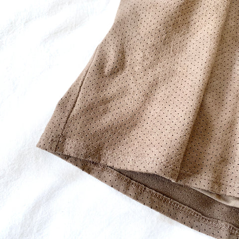 BROWN SUEDE PERFORATED SPAGHETTI STRAP JUMPER - WEAR JOY PROJECT