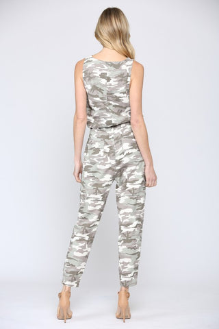 TWILL SLEEVELESS CAMO PRINT JUMPER. SINCHED AT WAIST AND ANKLES.
