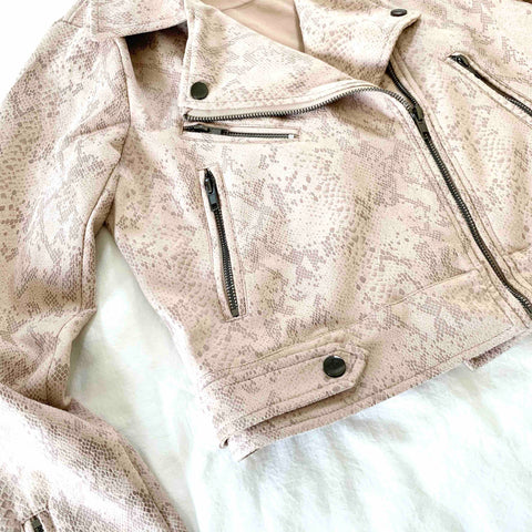 LIGHT PINK AND CREAM, SUPER SOFT, FAUX MICRO-SUEDE, SNAKE PRINT MOTO JACKET