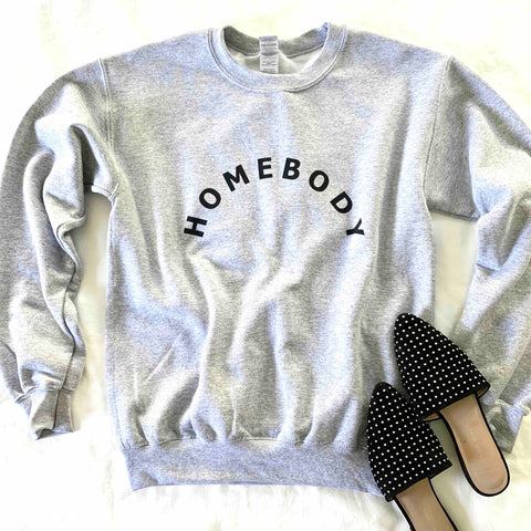 COMFORTABLE CREW NECK, GRAY AND BLACK, HOMEBODY GRAPHIC SWEATSHIRT