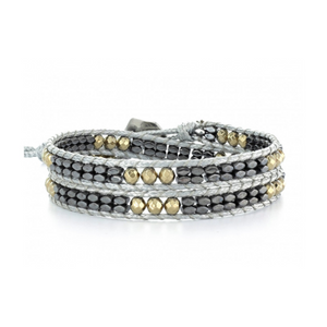 HEMATITE AND GOLD BEAD WITH GRAY CORD WRAP BRACELET