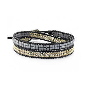 GUNMETAL AND GOLD SMALL BEAD BLACK CORD WRAP BRACELET