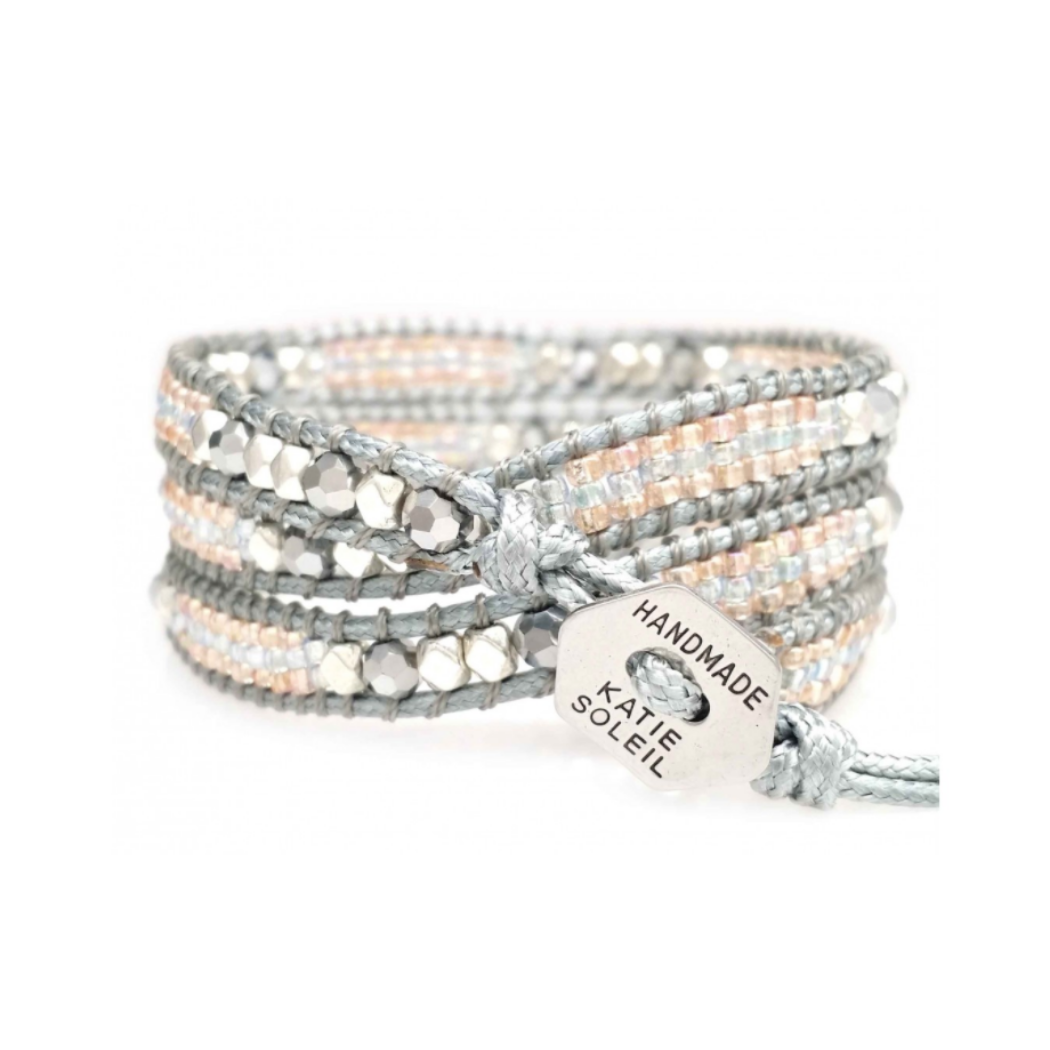 PINK AND SILVER METALLIC BEAD - GRAY CORD WRAP BRACELET