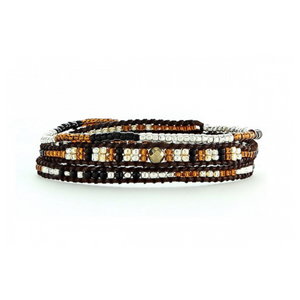BLACK SILVER AND BROWN SEED BEAD WRAP BRACELET