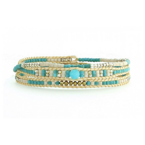 GOLD MINT AND CREAM SEED BEAD WRAP BRACELET