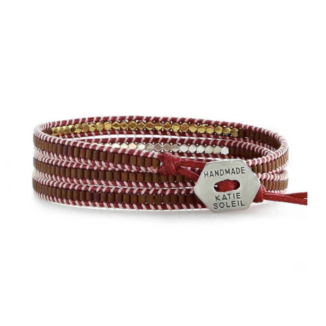 SILVER, GOLD, AND ROSE GOLD BEAD - MAROON CORD WRAP BRACELET
