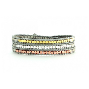 SILVER, GOLD, AND ROSE GOLD BEAD - GRAY CORD WRAP BRACELET