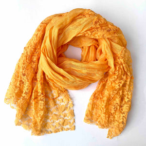 ORANGE LACE AND LINEN SCARF