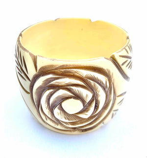 CREAM AND BROWN WIDE FLORAL BANGLE